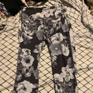 Black and White Floral Workout Pants